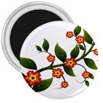 Flower Branch Nature Leaves Plant 3  Magnets
