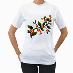 Flower Branch Nature Leaves Plant Women s T-Shirt (White) (Two Sided)