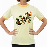 Flower Branch Nature Leaves Plant Women s Fitted Ringer T-Shirts