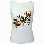 Flower Branch Nature Leaves Plant Women s White Tank Top