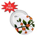 Flower Branch Nature Leaves Plant 1.75  Buttons (10 pack)