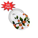 Flower Branch Nature Leaves Plant 1.75  Buttons (100 pack)