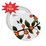 Flower Branch Nature Leaves Plant 2.25  Buttons (10 pack)