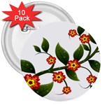 Flower Branch Nature Leaves Plant 3  Buttons (10 pack)