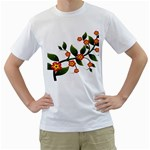 Flower Branch Nature Leaves Plant Men s T-Shirt (White) (Two Sided)