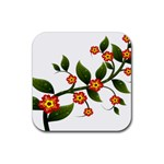 Flower Branch Nature Leaves Plant Rubber Coaster (Square)