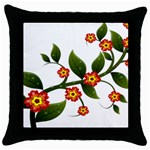 Flower Branch Nature Leaves Plant Throw Pillow Case (Black)