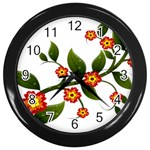 Flower Branch Nature Leaves Plant Wall Clocks (Black)