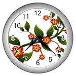 Flower Branch Nature Leaves Plant Wall Clocks (Silver)