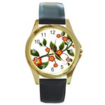 Flower Branch Nature Leaves Plant Round Gold Metal Watch