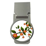 Flower Branch Nature Leaves Plant Money Clips (Round)