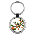 Flower Branch Nature Leaves Plant Key Chains (Round)