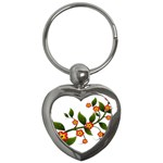 Flower Branch Nature Leaves Plant Key Chains (Heart)