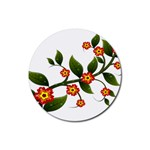 Flower Branch Nature Leaves Plant Rubber Round Coaster (4 pack)