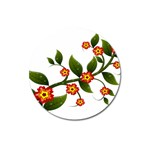 Flower Branch Nature Leaves Plant Magnet 3  (Round)