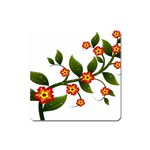Flower Branch Nature Leaves Plant Square Magnet