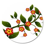 Flower Branch Nature Leaves Plant Magnet 5  (Round)