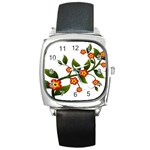 Flower Branch Nature Leaves Plant Square Metal Watch