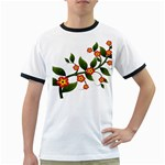 Flower Branch Nature Leaves Plant Ringer T-Shirts