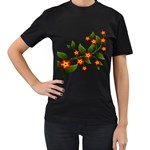 Flower Branch Nature Leaves Plant Women s T-Shirt (Black) (Two Sided)