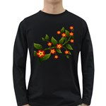 Flower Branch Nature Leaves Plant Long Sleeve Dark T-Shirts