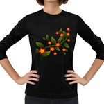 Flower Branch Nature Leaves Plant Women s Long Sleeve Dark T-Shirts
