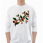 Flower Branch Nature Leaves Plant White Long Sleeve T-Shirts
