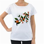 Flower Branch Nature Leaves Plant Women s Loose-Fit T-Shirt (White)