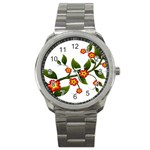 Flower Branch Nature Leaves Plant Sport Metal Watch