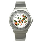 Flower Branch Nature Leaves Plant Stainless Steel Watch