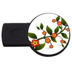 Flower Branch Nature Leaves Plant USB Flash Drive Round (4 GB)