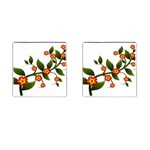 Flower Branch Nature Leaves Plant Cufflinks (Square)