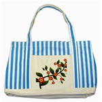 Flower Branch Nature Leaves Plant Striped Blue Tote Bag