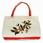 Flower Branch Nature Leaves Plant Classic Tote Bag (Red)