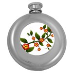 Flower Branch Nature Leaves Plant Round Hip Flask (5 oz)