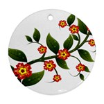 Flower Branch Nature Leaves Plant Round Ornament (Two Sides)