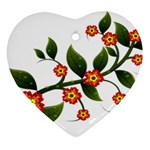 Flower Branch Nature Leaves Plant Heart Ornament (Two Sides)