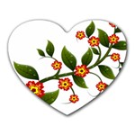 Flower Branch Nature Leaves Plant Heart Mousepads