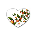 Flower Branch Nature Leaves Plant Rubber Coaster (Heart)