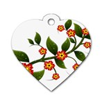 Flower Branch Nature Leaves Plant Dog Tag Heart (Two Sides)