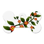 Flower Branch Nature Leaves Plant Dog Tag Bone (One Side)
