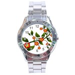 Flower Branch Nature Leaves Plant Stainless Steel Analogue Watch