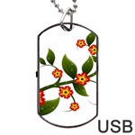 Flower Branch Nature Leaves Plant Dog Tag USB Flash (One Side)
