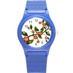 Flower Branch Nature Leaves Plant Round Plastic Sport Watch (S)