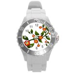 Flower Branch Nature Leaves Plant Round Plastic Sport Watch (L)