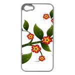 Flower Branch Nature Leaves Plant Apple iPhone 5 Case (Silver)