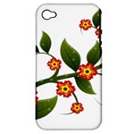 Flower Branch Nature Leaves Plant Apple iPhone 4/4S Hardshell Case (PC+Silicone)