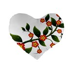Flower Branch Nature Leaves Plant Standard 16  Premium Heart Shape Cushions