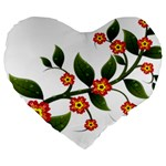 Flower Branch Nature Leaves Plant Large 19  Premium Heart Shape Cushions