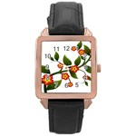 Flower Branch Nature Leaves Plant Rose Gold Leather Watch